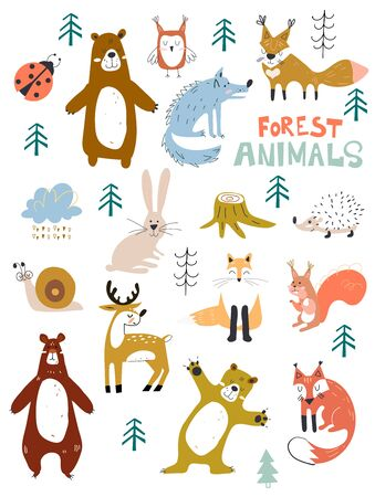 Illustration pour Vector woodland animals character, great for scrapbook,cute and sweet animals. Fall Floral Forest Design Elements. - image libre de droit