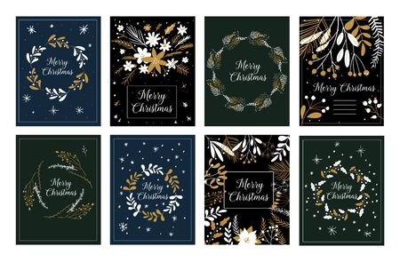 Illustration for Merry Christmas and Happy New Year greeting cute tags or cards, emblems, labels. Vector doodle illustrations. Template Set for Scrapbooking, Congratulations, Invitations. Christmas Posters set. - Royalty Free Image