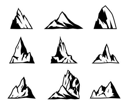 Illustration pour Mountain vector icons set. Mountain silhouettes. - image libre de droit