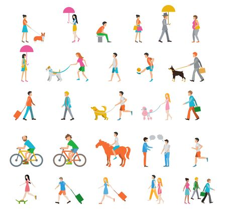 Illustration for People on the street. Neighbors. Flat icons. - Royalty Free Image