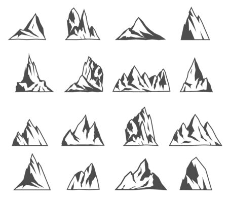 Illustration pour Mountain vector icons set. Tourism, hiking and camping icons. Vintage travel labels and design elements. - image libre de droit