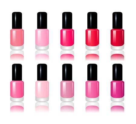 Set of 10 nail polish bottles