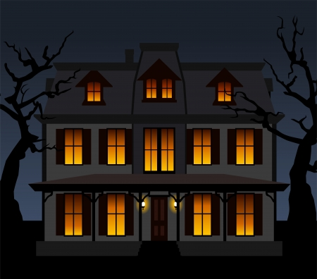 Haunted house in the night.