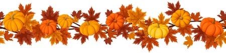 Ilustración de Horizontal seamless background with pumpkins and autumn maple leaves   - Imagen libre de derechos