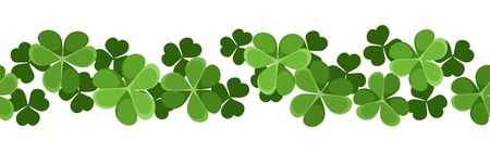 St  Patrick s day vector horizontal seamless background with shamrock