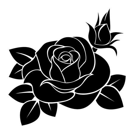 Illustration for Black silhouette of rose.  illustration. - Royalty Free Image