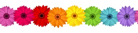 Horizontal seamless background with colored gerbera.  illustration.