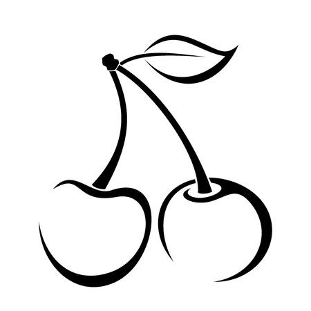 Illustration pour Contour drawing of cherry. - image libre de droit