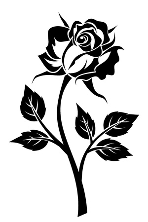 Black silhouette of rose with stem.