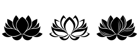 Lotus flowers silhouettes. Set of three vector illustrations.