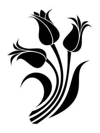 Illustration pour Black silhouettes of tulips - image libre de droit