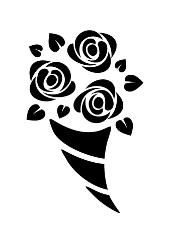 Black silhouette of roses bouquet  Vector illustration