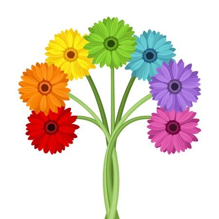 Ilustración de Bouquet of colorful gerbera flowers  Vector illustration  - Imagen libre de derechos