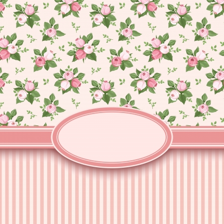 Vintage card with roses and stripes  Vector illustration