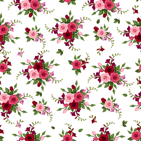 Vector seamless pattern roses and freesia