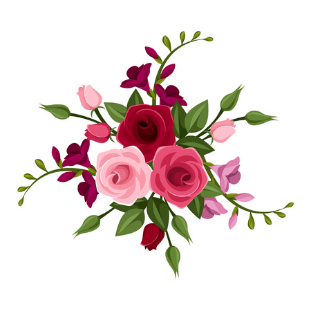 Roses and freesia  illustration