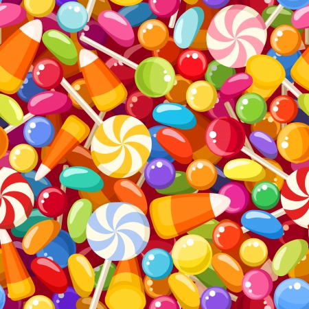 Seamless background with various candies  illustration