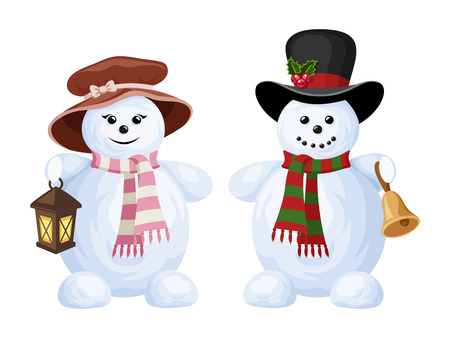 Two Christmas snowmen  a boy and a girl  Vector illustration