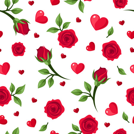 Vector seamless pattern with red roses and hearts on white