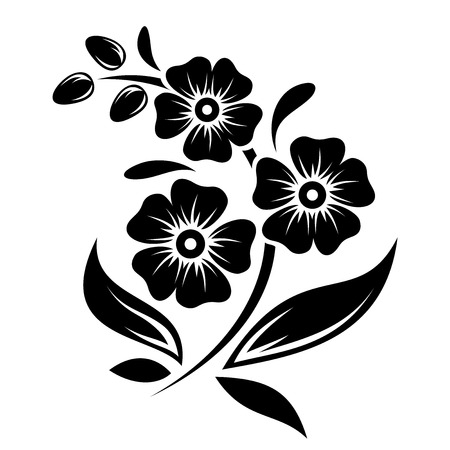 Illustration pour Black silhouette of flowers  Vector illustration  - image libre de droit