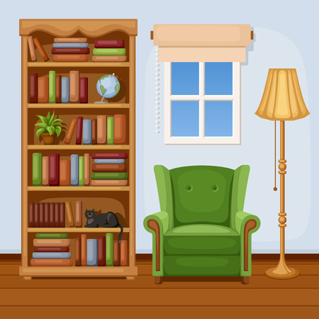 Room interior with bookcase and armchair  Vector illustration