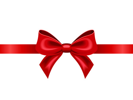 Red ribbon with bow  Vector illustration
