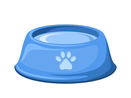Blue dog bowl with water  Vector illustration