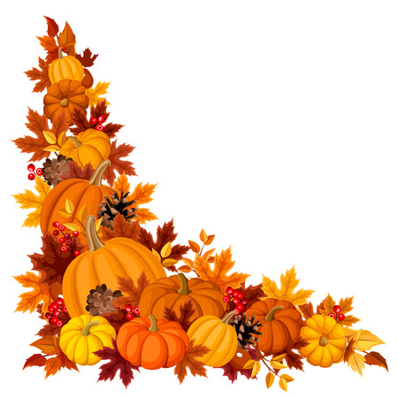 Corner background with pumpkins and autumn leaves