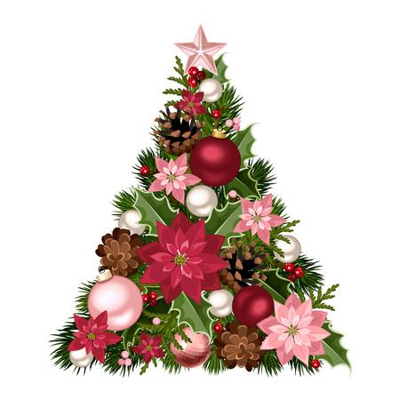 Illustration pour Christmas tree with red and pink decorations. Vector illustration. - image libre de droit