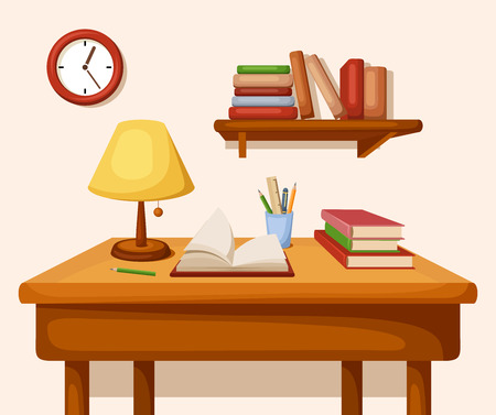 Table with books and lamp on it, shelf and clock. Vector interior.