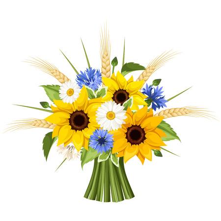 Illustration pour Bouquet of sunflowers, daisies, cornflowers and ears of wheat. Vector illustration. - image libre de droit