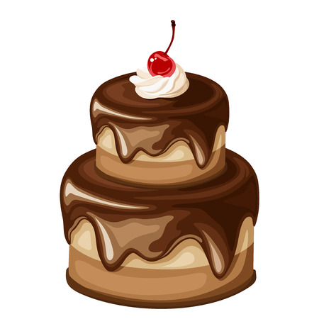 Vector two-tired chocolate cake with cherry isolated on a white background.