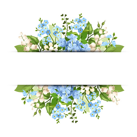 Illustration pour Vector horizontal background with blue and white flowers and green leaves. - image libre de droit