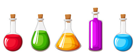 Vector set of glass flasks with colorful liquids isolated on a white background.