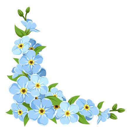 Illustration pour Vector corner with blue forget-me-not flowers on a white background. - image libre de droit