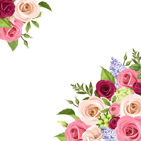 Illustration pour Vector background with pink, white and purple roses, lisianthuses and lilac flowers and green leaves on a white background. - image libre de droit
