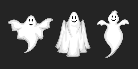 Set of three vector white ghosts isolated on a black background.