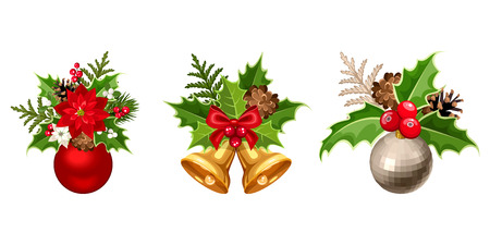 Set of three vector Christmas decorations with balls, poinsettia, fir-tree, cones, holly, and mistletoe isolated on a white background.