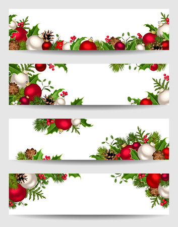 Vector set of Christmas banners with red, white and green fir branches, balls, holly, mistletoe and cones.