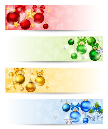 Illustration for Vector set of four Christmas banners with red, yellow, green and blue balls, stars and sparkles. - Royalty Free Image