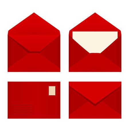 Illustration pour Vector set of four red envelopes. - image libre de droit