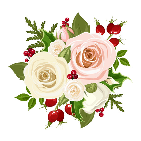 Illustration pour Vector Christmas bouquet with pink and white roses, rosehip berries, holly and fir branches isolated on a white background. - image libre de droit