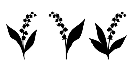 Illustration pour Set of three vector black silhouettes of lily of the valley flowers on a white background. - image libre de droit