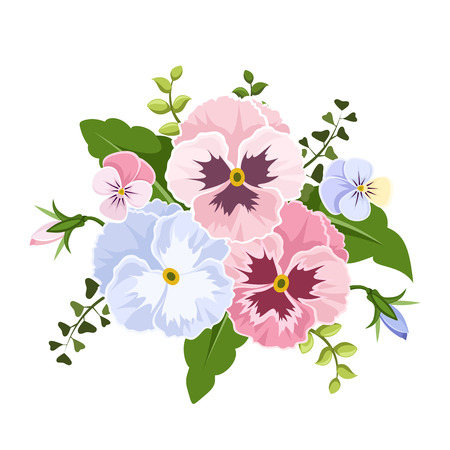 Illustration pour Vector pink and blue pansy flowers isolated on a white background. - image libre de droit
