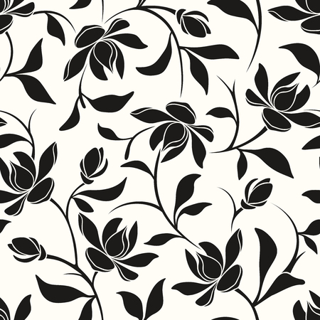 Illustration pour Vector seamless black and white floral pattern with magnolia flowers and leaves. - image libre de droit