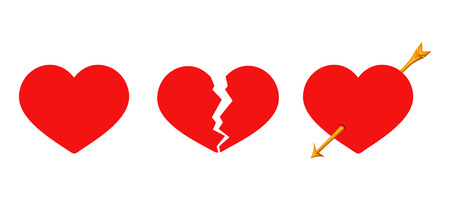 Photo pour Vector set of three red Valentines hearts solid, cracked and arrow piercing isolated on a white background. - image libre de droit