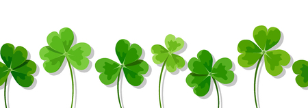 Illustration for Vector horizontal seamless background with green clover leaves shamrock on a white background. - Royalty Free Image