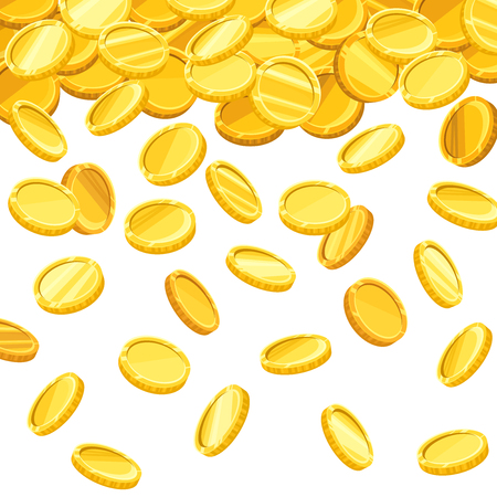 Vector background with falling golden coins.