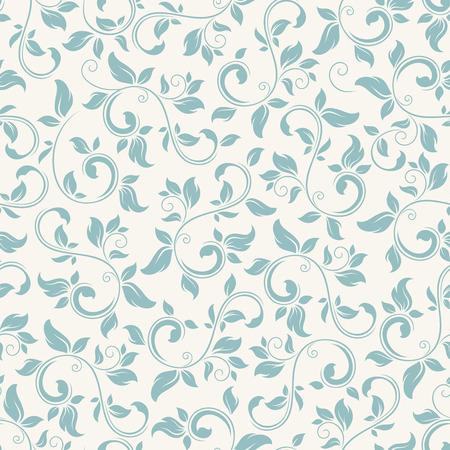 Ilustración de Vector vintage seamless blue floral pattern on white. - Imagen libre de derechos
