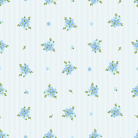 Illustration pour Vector seamless pattern with blue forget-me-not flowers on a striped background. - image libre de droit